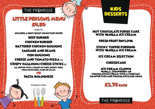 The Primrose Menus The Primrose